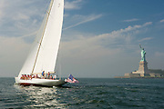 W Class Wild Horses racing in the Skyline Race at New York Classic Week. Statue of Liberty in the background