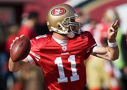 Dec 27, 2009; San Francisco, CA, USA;  San Francisco 49ers quarterback Alex Smith (11) before the game against the Detroit Lions at Candlestick Park. San Francisco defeated Detroit 20-6.