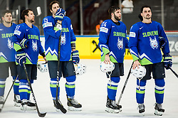 Anze Kuralt of Slovenia, Mitja Robar of Slovenia, Blaz Gregorc of Slovenia, Rok Ticar of Slovenia, Klemen Pretnar of Slovenia look dejected after the 2017 IIHF Men's World Championship group B Ice hockey match between National Teams of Slovenia and Belarus, on May 13, 2017 in AccorHotels Arena in Paris, France. Photo by Vid Ponikvar / Sportida