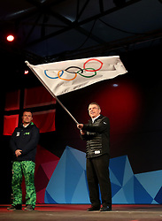 Thomas Bach (R), President of the International Olympic Committee waves the Olympic Flag during the closing ceremony for the Lillehammer 2016 Winter Youth Olympic Games in Lillehammer, Norway on Feb. 21, 2016. EXPA Pictures © 2016, PhotoCredit: EXPA/ Photoshot/ Han Yan<br />