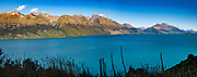 Lake Wakatipu, Otago region, South Island of New Zealand. In 5 days, we tramped the strenuous Rees-Dart Track for 39 miles plus 12.5 miles side trip to spectacular Cascade Saddle, in Mount Aspiring National Park. This image was stitched from multiple overlapping photos.