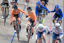 March 2, 2019 - Pruszkow, Poland - Netherland's Kirsten Wild and with Amy Pieters after winning gold in the women's madison at the UCI Track Cycling World Championship in Pruszkow on March 02, 2019. (Credit Image: © Foto Olimpik/NurPhoto via ZUMA Press)