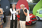 Sofia and Enzo Apicella, Fiat Pandamonium launch , Stephen Bayley and  Guilio Salamone MD of Fiat launch new amphibious car,  Fiat Amphibia.The Boathouse, Battersea Park Lake, London, 20 July 2006.<br />