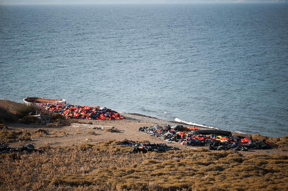 Discarded lifejackets near Eftalou beach, Lesvos, Greece