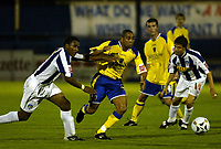 Fotball<br /> England 2005/2006<br /> Foto: SBI/Digitalsport<br /> NORWAY ONLY<br /> <br /> Colchester United v Cardiff City. Carling Cup.<br /> 24/08/2005.<br /> Jeff Whitley of Cardiff goes away from Neil Danns of Colchester