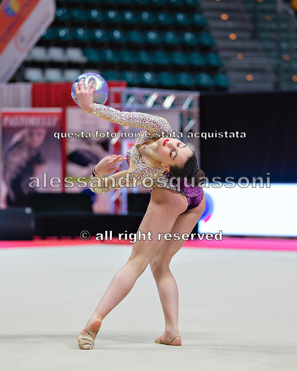 Eva Gherardi from Armonia D'Abruzzo team during the Italian Rhythmic Gymnastics Championship in Bologna, 9 February 2019.