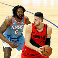18 March 2018: LA Clippers center DeAndre Jordan (6) defends on Portland Trail Blazers center Jusuf Nurkic (27) during the Portland Trail Blazers 122109 victory over the LA Clippers, at the Staples Center, Los Angeles, California, USA.