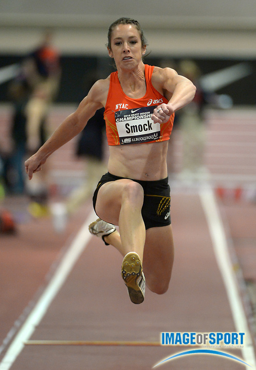 Feb 23, 2014; Albuquerque, NM, USA; Amanda Smock wins the womens triple jump at 45-3 3/4 (13.81m) in the 2014 USA Indoor Championships at Albuquerque Convention Center.