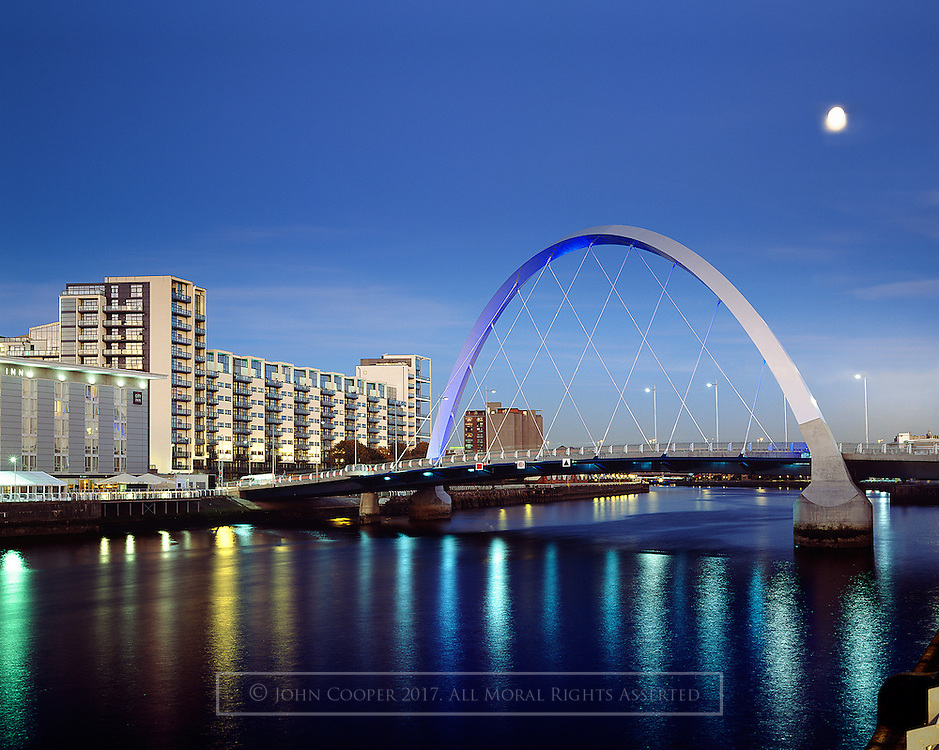 Colour photograph of The Clyde Arc bridge in Glasgow. Mounted print available to purchase.