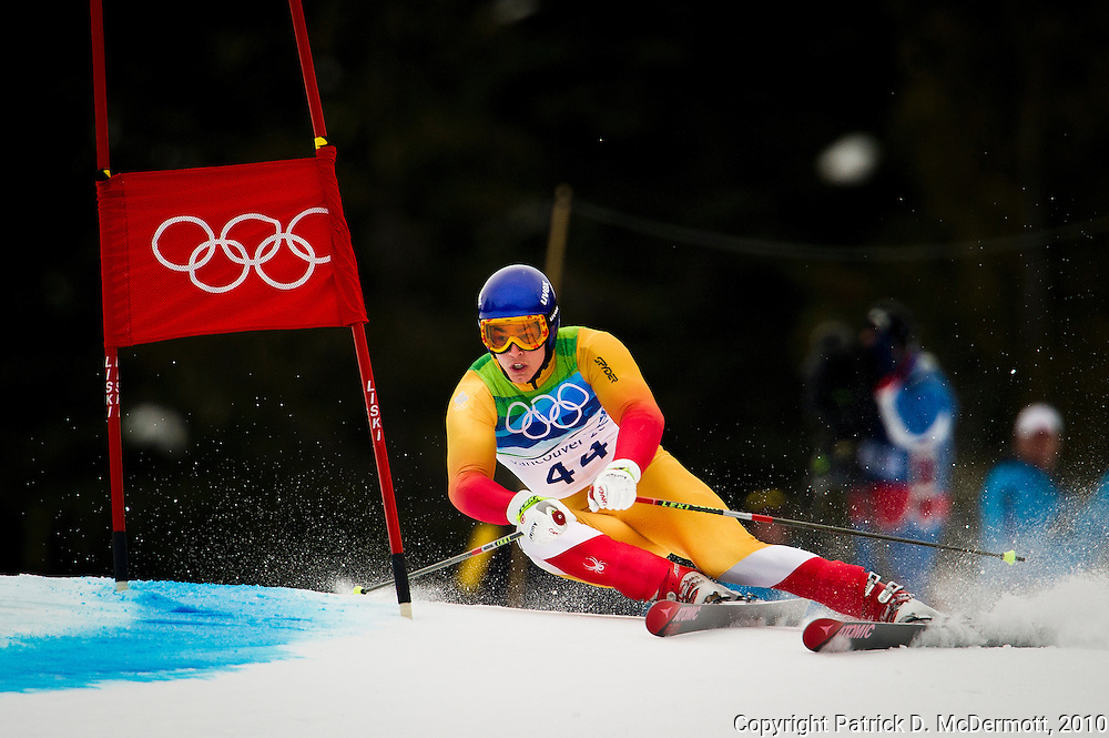Erik Guay of Canada during the Men's Alpine Skiing Giant Slalom on Day 12 of the 2010 Vancouver Winter Olympic Games on February 23, 2010 in Whistler Creekside, Canada.
