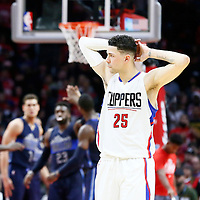 23 December 2016: LA Clippers guard Austin Rivers (25) looks dejected during the Dallas Mavericks 90-88 victory over the LA Clippers, at the Staples Center, Los Angeles, California, USA.