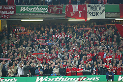 CARDIFF, WALES - Sunday, March 2, 2003: Liverpool fans during the Football League Cup Final against Manchester United at the Millennium Stadium. (Pic by David Rawcliffe/Propaganda)
