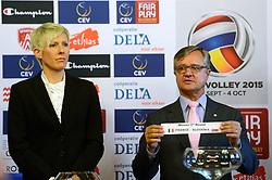 12-11-2014 BEL: Loting EK volleybal 2015 vrouwen, Antwerpen<br /> In het Antwerpse stadhuis werd door de Nederlandse-, Belgische volleybalbond en de CEV de loting voor het EK vrouwen verricht / Toernooi directeur Virginie de Carne, slovenia