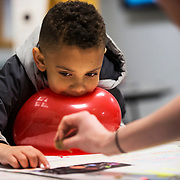 """Clifford Odle, 8, of Lewiston, points to the title on a """"Life Cycle of a Star"""" poster board while Eliza Dunham '20, of New Haven, Conn., explains what a supernova is during the Bates College Astronomy Night Extravaganza at the Carnegie Science Hall on April 2, 2018. Dunham, along with Maeve O'Brien '21 of Essex, Conn., not pictured, and Jill Futter '21 of Cold Spring Harbor, N.Y., not pictured, used a ballon filled with a ping pong ball and another ballon filled with glitter to visually represent the difference between a type 1 and type 2 supernova, """"a type 1 is a lot smaller than a type 2, and a type 2 is actually a lot bigger than the sun. A type 1 will end up as a white dwarf which is nothing really exciting-it's like a ping pong ball basically, while a type 2 when it explodes is very bright and kind of sparkly, which is a lot cooler in my opinion,"""" said Futter."""
