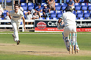 Gavin Griffiths bowling to Kraigg Brathwaite during the Specsavers County Champ Div 2 match between Glamorgan County Cricket Club and Leicestershire County Cricket Club at the SWALEC Stadium, Cardiff, United Kingdom on 18 September 2019.
