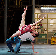 Jonathan Ollivier as Luca with Ashley Shaw as Lana in The Car Man by Matthew Bourne at Sadler&rsquo;s Wells. Ollivier was killed in a motorbike accident a few hours before the final show<br /> <br /> 9th August 2015 <br /> <br /> Photograph by Elliott Franks <br /> Image licensed to Elliott Franks Photography Services