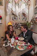 ELLE CARING; BEN CARING, Afternoon tea to  celebrate the addition of the Naked Heart Dessert to Russian restaurant Mari Vanna's menu,  Mari Vanna, 116 Knightsbridge, London, SW1X 7PJ. August 29 2012.