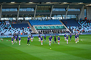 Manchester City Women players warming up during the FA Women's Super League match between Manchester City Women and West Ham United Women at the Sport City Academy Stadium, Manchester, United Kingdom on 17 November 2019.