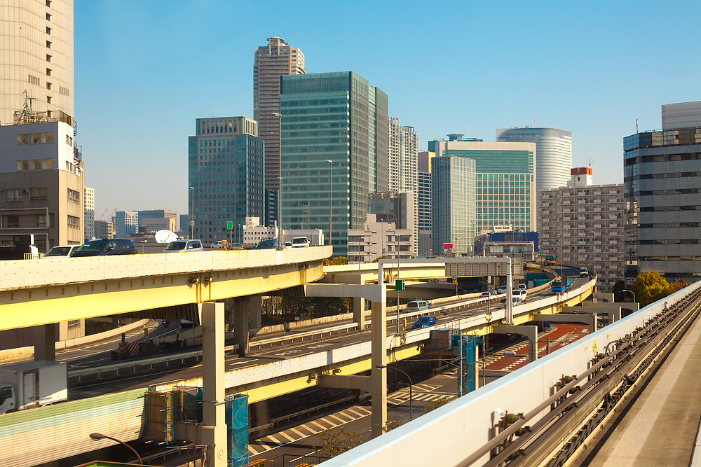 Elevated freeways and city skyline, Tokyo, Kanto Region, Honshu, Japan