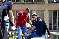 Issam Tej / Mickael Robin - 17.06.2015 - Proces des paris sportifs du Handball - Montpellier<br /> Photo : Alexandre Dimou / Icon Sport