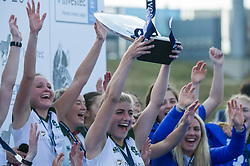 Surbiton's Sarah Haycroft holds the trophy aloft. Holcombe v Surbiton - Investec Women's Hockey League Final, Lee Valley Hockey & Tennis Centre, London, UK on 23 April 2017. Photo: Simon Parker