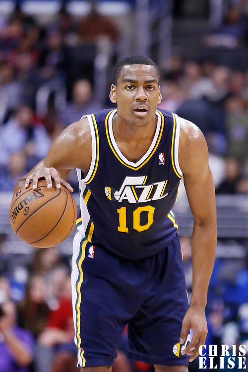 23 October 2013: Utah Jazz point guard Alec Burks (10) brings the ball upcourt during the Los Angeles Clippers 103-99 victory over the Utah Jazz at the Staples Center, Los Angeles, California, USA.