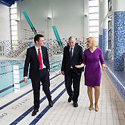 03.04.2017        <br /> UL Cements Reputation as Ireland&rsquo;s Sporting Campus with Launch of Munster Rugby High Performance Centre and new UL Sport 25m Diving Pool.<br />  <br /> Two new sports buildings worth almost &euro;15m were officially opened at the University of Limerick today by Minister of State, Patrick O&rsquo;Donovan, Department of Transport, Tourism and Sport.  The Munster Rugby High Performance Centre at UL and the new UL 25m Diving Pool adjacent to and connected with the existing UL Sport Arena.<br /> <br /> Pictured on a tour of the new UL 25m Diving Pool were, Minister of State, Patrick O&rsquo;Donovan, Department of Transport, Tourism and Sport, Prof. Don Barry, President, University of Limerick and Sarah Keane, CEO of Swim Ireland. Picture: Alan Place.