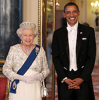 Queen Elizabeth II and US President Barack Obama arrive for a State Banquet at Buckingham Palace on May 24, 2011 in London, England..........