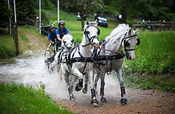 © Licensed to London News Pictures. 12/05/2018. Windsor, UK. Competitors in the Carriage driving event make their way through a brook at day 4 of the 75th Royal Windsor Horse Show . The five day event takes place in the grounds of Windsor Castle. Photo credit: Ben Cawthra/LNP