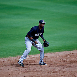 Feb 26, 2013; Clearwater, FL, USA; New York Yankees shortstop Eduardo Nunez (26) against the Philadelphia Phillies during a spring training game at Bright House Field. Mandatory Credit: Derick E. Hingle-USA TODAY Sports