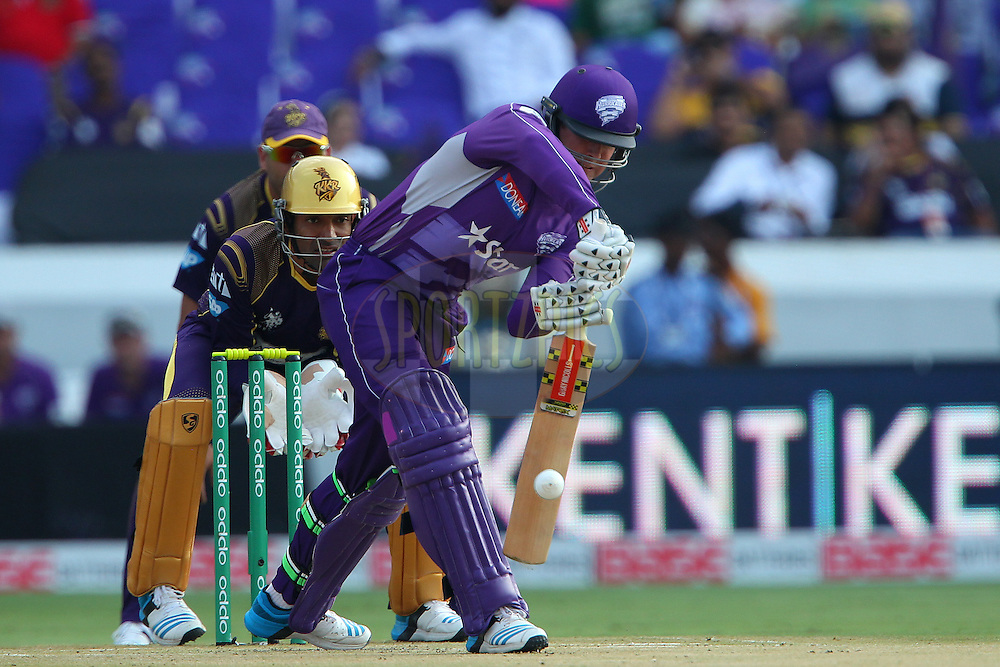 Ben DUNK of the Hobart Hurricanes  during the first semi final match of the Oppo Champions League Twenty20 between the Kolkata Knight Riders and the Hobart Hurricanes held at the Rajiv Gandhi Cricket Stadium, Hyderabad, India on the 2nd October 2014<br /> <br /> Photo by:  Ron Gaunt / Sportzpics/ CLT20<br /> <br /> <br /> Image use is subject to the terms and conditions as laid out by the BCCI/ CLT20.  The terms and conditions can be downloaded here:<br /> <br /> http://sportzpics.photoshelter.com/gallery/CLT20-Image-Terms-and-Conditions-2014/G0000IfNJn535VPU/C0000QhhKadWcjYs