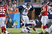 Denver Broncos linebacker Malik Reed (59) celebrates after tackling Atlanta Falcons quarterback Kurt Benkert (6) during the Pro Football Hall of Fame Game at Tom Benson Hall of Fame Stadium, Thursday, Aug. 1, 2019, in Canton, OH. The Broncos defeated the Falcons 14-10. (Robin Alam/Image of Sport)