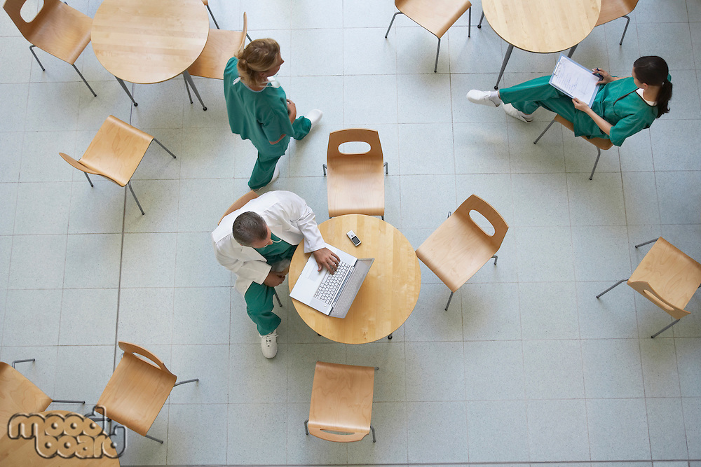 Physicians sitting in cafeteria view from above