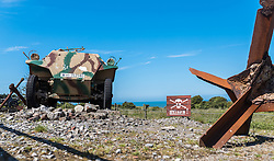 24.06.2016, Audinghen, FRA, Museum der Batterie Todt am Atlantikwall, im Bild ein leichter Schützenpanzerwagen Sd.Kfz. 250 und ein Schild mit der Aufschrift Minen // The Todt Battery is a battery of coastal artillery built by the Germans in World War II. It was one of the most important coastal fortifications of the Atlantic Wall, and consisted of four 380 mm calibre Krupp guns with a range up to 55.7 km, capable of reaching the British coast, and each protected by a bunker of reinforced concrete, Audinghen, France on 2016/06/24. EXPA Pictures © 2016, PhotoCredit: EXPA/ JFK