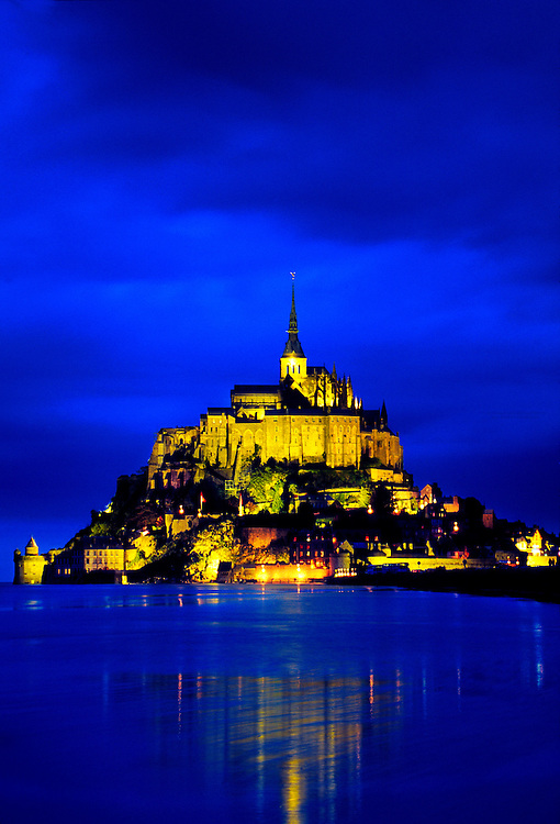 Mont-St-Michel at night. Mont-St-Michel, Brittany, France