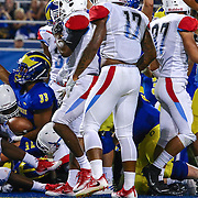 Delaware Running Back JALEN RANDOLPH (33) points to the stands after scoring a touchdown during a week one game between the Delaware Blue Hens and the Delaware State Hornets, Thursday, Sept. 01, 2016 at Tubby Raymond Field at Delaware Stadium in Newark, DE.
