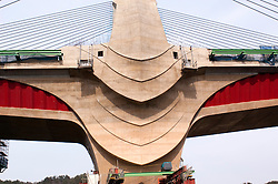 "Detail of elaborate architectural design of concrete bridge piers at Rittoh bridge near Kyoto in Japan. The design of the bridge is based on a concept of a ""Bird in Flight"" and in particular the Japanese crane."