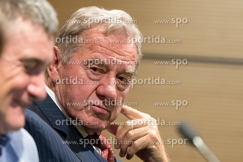 Marijan Pusnik and Milan Mandaric at press conference of NK Olimpija Ljubljana about new head coach Marijan Pusnik, on March 9, 2017 in Austria Trend Hotel, Ljubljana, Slovenia. Photo By Matic Klansek Velej / Sportida