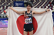 Kazuya Shiojiri (JPN) poses with flag after placing third in the steeplechase in 8:32.25 during the Asian Athletics Championships in Doha, Qatar, Saturday, April,21, 2019. (Jiro Mochizuki/Image of Sport)