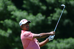 July 8, 2018 - White Sulphur Springs, WV, U.S. - WHITE SULPHUR SPRINGS, WV - JULY 08: Anirban Lahir hits his tee shot on the third hole during the final round of the Military Tribute at the Greenbrier in White Sulphur Springs, WV, on July 8, 2018.(Photo by Brian Bishop/Icon Sportswire) (Credit Image: © Brian Bishop/Icon SMI via ZUMA Press)
