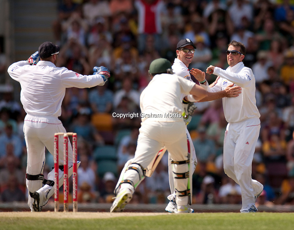 Bowler Graeme Swann (right) celebrates the wicket of Marcus North during the first Ashes Test Match between Australia and England at the Gabba, Brisbane. Photo: Graham Morris (Tel: +44(0)20 8969 4192 Email: sales@cricketpix.com) 26/11/10