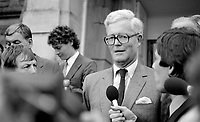 Douglas Hurd, newly appointed Secretary of State for N Ireland, photographed on the occasion of his first Press Conference on the steps of Stormont Castle, Belfast, N Ireland, 27th September 1984, 19840111DH7.Copyright Image from Victor Patterson, 54 Dorchester Park, Belfast, UK, BT9 6RJ<br /> <br /> Copyright Image from Victor Patterson, 54 Dorchester Park, Belfast, UK, BT9 6RJ<br /> <br /> t1: +44 28 9066 1296 (from Rep of Ireland 048 9066 1296)<br /> t2: +44 28 9002 2446 (from Rep of Ireland 048 9002 2446)<br /> m: +44 7802 353836<br /> <br /> victorpattersonbelfast@gmail.com<br /> victorpatterson@me.com<br /> <br /> www.victorpatterson.com<br /> <br /> Please see my Terms and Conditions of Use at https://www.victorpatterson.com/page2<br /> It is IMPORTANT that you familiarise yourself with them.<br /> <br /> Images used on the Internet incur an additional cost and must be visibly watermarked i.e. ©Victor Patterson within the body of the image and copyright metadata must not be deleted. Images used on the Internet have a size restriction of 4kbs and are chargeable at rates available at victorpatterson.com.<br /> <br /> This image is available only for the use of the download recipient i.e. television station, newspaper, magazine, book publisher, etc, and must not be passed on to any third party. It is also downloaded on condition that each and every usage is notified within 7 days to victorpatterson@me.com<br /> <br /> The right of Victor Patterson (or the named photographer) to be identified as the author is asserted in accordance with The Copyright Designs And Patents Act (1988). All moral rights are asserted.