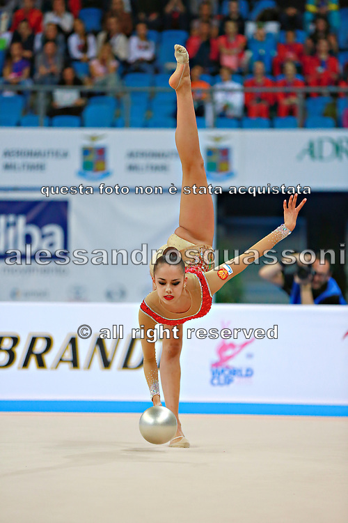 Mamun Margarita during final at ball in Pesaro World Cup at Adriatic Arena on 12 April 2015. Margarita was born November 1,1995 in Moscow.