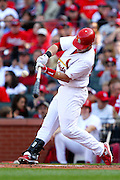 17 April 2010: St. Louis Cardinals second baseman Skip Schumaker (55) gets a hit against the New York Mets at Busch Stadium in St. Louis, Missouri. The Game would go 20 innings, with the Mets winning 2-1.