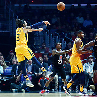 30 November 2017: Utah Jazz guard Ricky Rubio (3) passes the ball during the Utah Jazz 126-107 victory over the LA Clippers, at the Staples Center, Los Angeles, California, USA.