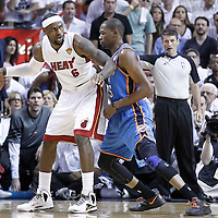 19 June 2012: Miami Heat small forward LeBron James (6) posts up Oklahoma City Thunder small forward Kevin Durant (35) during the first quarter of Game 4 of the 2012 NBA Finals, Thunder at Heat, at the AmericanAirlinesArena, Miami, Florida, USA.