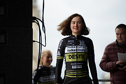 Hanna Solovey leads her Parkhotel team onto the stage at the Women's Ronde van Vlaanderen 2017 Team Presentation.