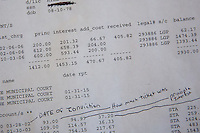 A balance sheet of Jason Hill's legal financial obligations for his 2006 criminal charges.