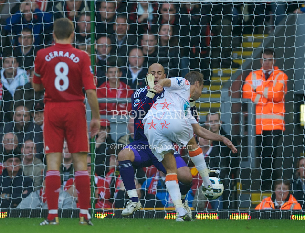 LIVERPOOL, ENGLAND - Sunday, October 3, 2010: Blackpool's Luke Varney scores his side's second goal against Liverpool during the Premiership match at Anfield. (Photo by David Rawcliffe/Propaganda)