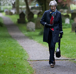 Prime Minister Theresa May leaves following a church service near her Maidenhead constituency.